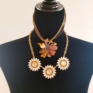 Two Enamel & Rhinestone Necklaces, Daisy Flower
